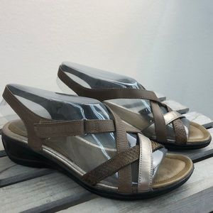 ECCO Metallic Leather Comfort Sandals 38 7